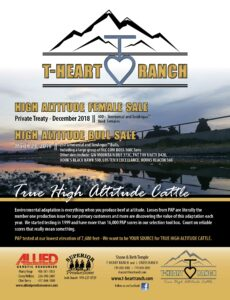 T-Heart Ranch High Altitude Female Sale offered Private Treaty thru December 2018